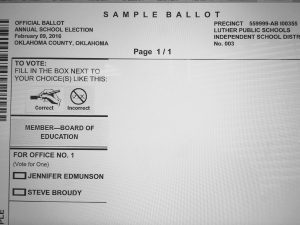 Sample ballot. http://www.oklahomacounty.org/electionboard/Documents/ballots/Sample02_16.pdf