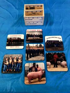Coasters featuring pictures of FFA members doing what they do best! Auction item.