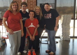 Moms of the Boys of Fall: missing one mom, Heather Vigil. L-R, Samantha Pearson, Patrice Christy, Brandi Krueger, Tracey Pridemore and Crystal Chartney.